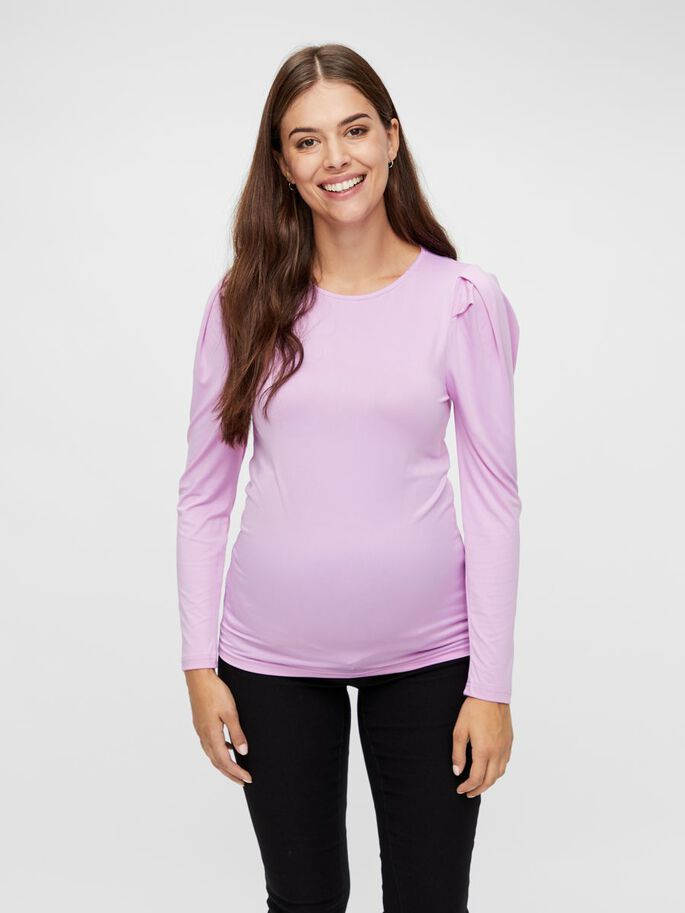 LONG SLEEVED JERSEY MATERNITY TOP, Violet Tulle, large