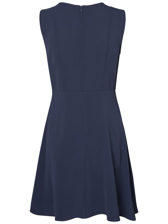 FRILL SLEEVELESS DRESS, Navy Blazer, large