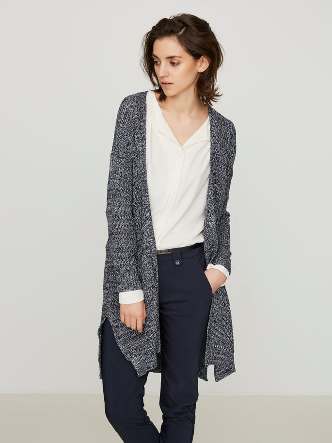 LONG KNITTED CARDIGAN, Navy Blazer, large