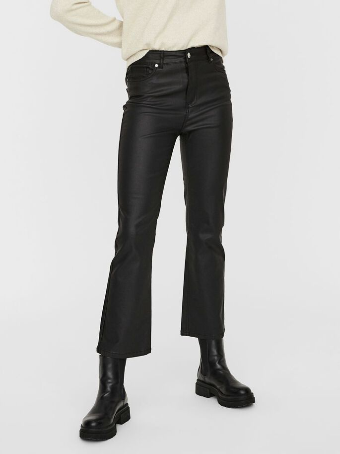 HIGH WAIST BESCHICHTET SLIM FIT JEANS, Black, large