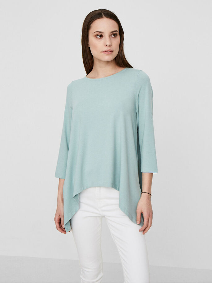 CASUAL 3/4 SLEEVED BLOUSE, Blue Surf, large