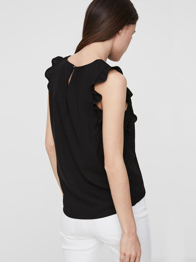 FRILL SLEEVELESS TOP, Black, large