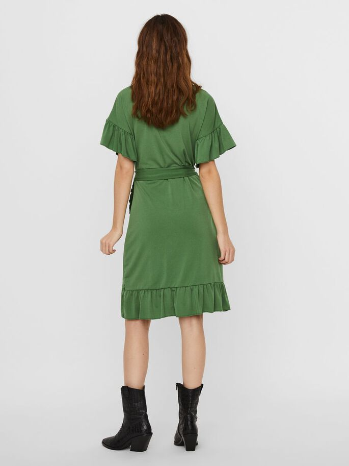 FRILL SLEEVED MINI DRESS, Willow Bough, large