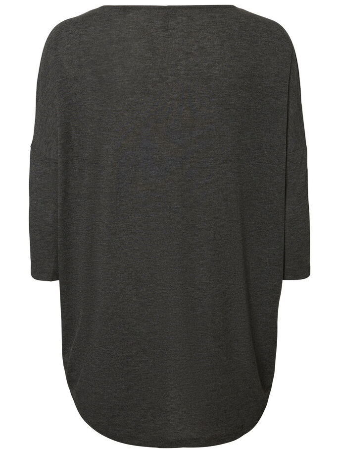 CASUAL 3/4 SLEEVED BLOUSE, Dark Grey Melange, large