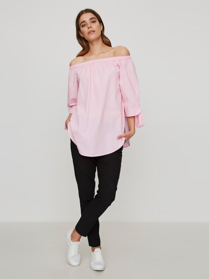 OFF-SHOULDER 3/4 SLEEVED TOP, Sweet Lilac, large