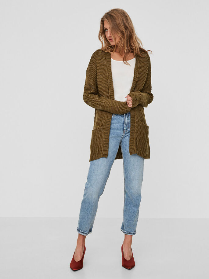 LANG STRIKKET CARDIGAN, Dark Olive, large
