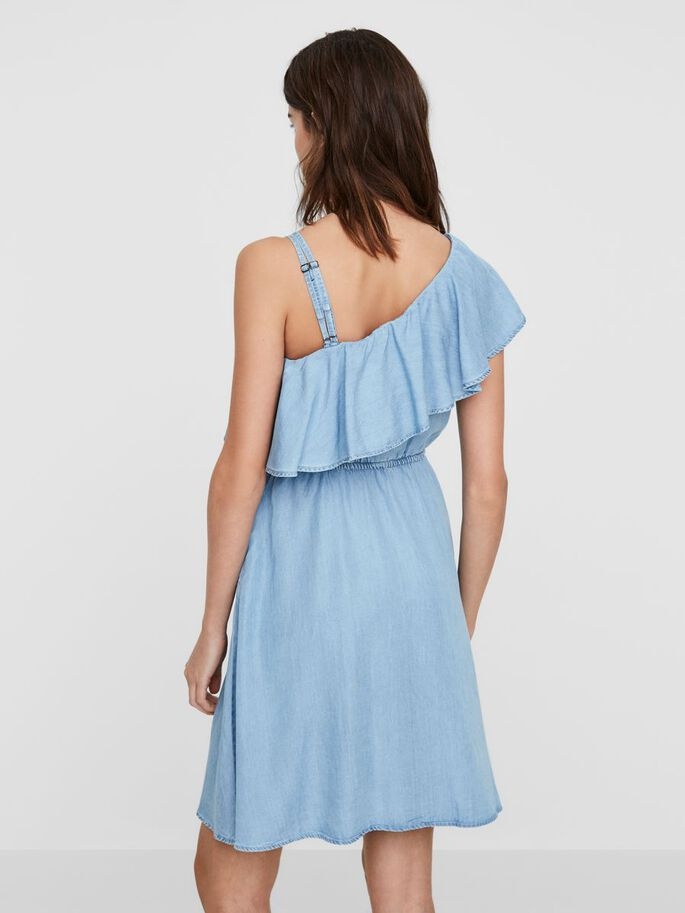 ONE-SHOULDER ERMELØS KJOLE, Light Blue Denim, large