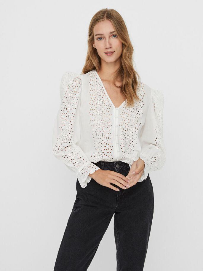 BRODERIE BLOUSE, Snow White, large