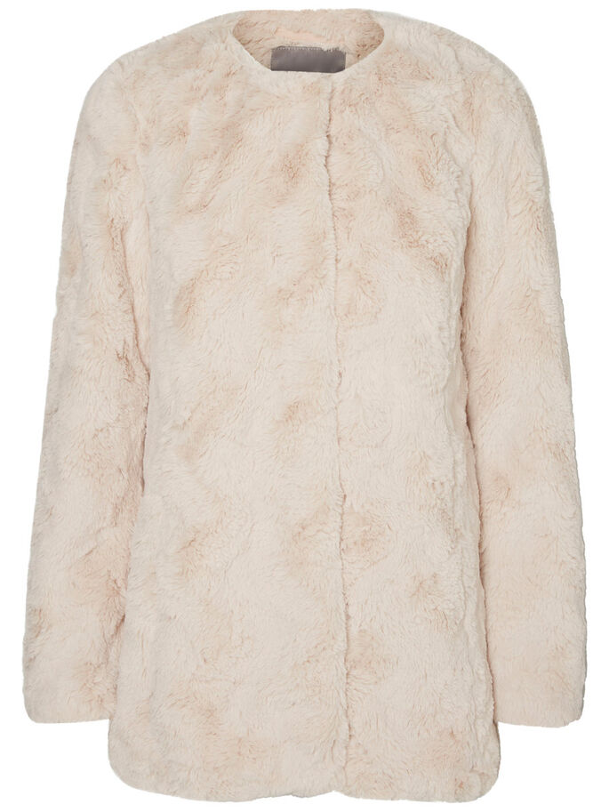 FAUX FUR JACKET, Oatmeal, large