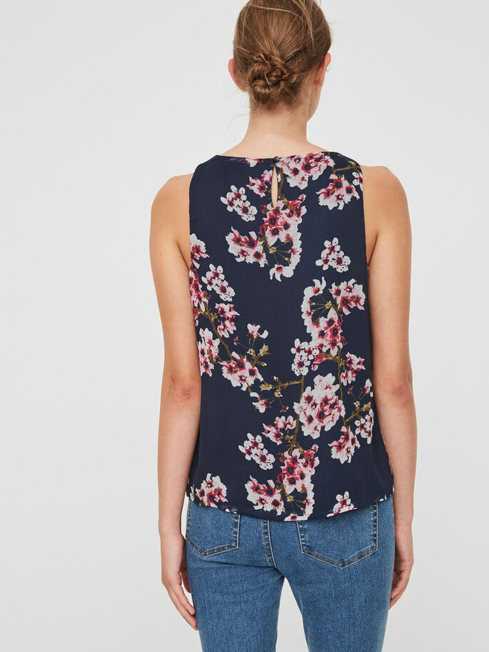 FLOWER SLEEVELESS TOP, Navy Blazer, large