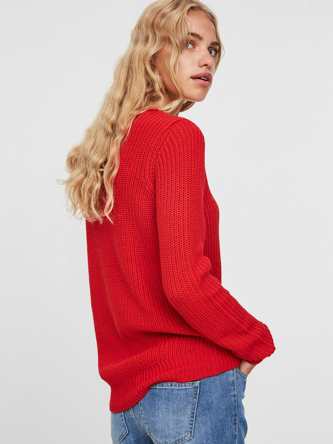 MANCHES LONGUES PULL EN MAILLE, Flame Scarlet, large