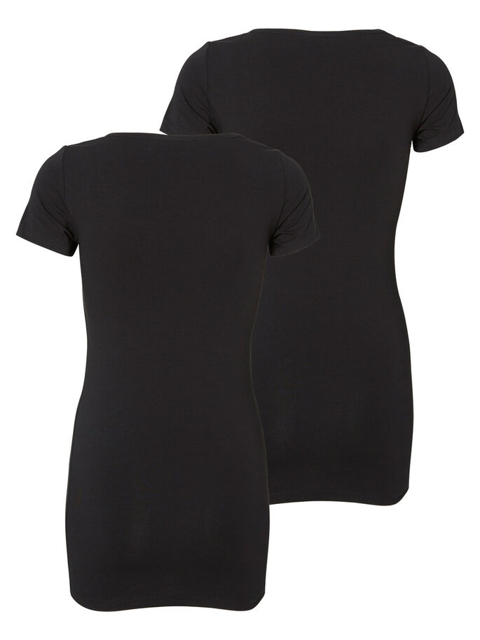 LONG BASIC 2 PACK SHORT SLEEVED BLOUSE, Black, large