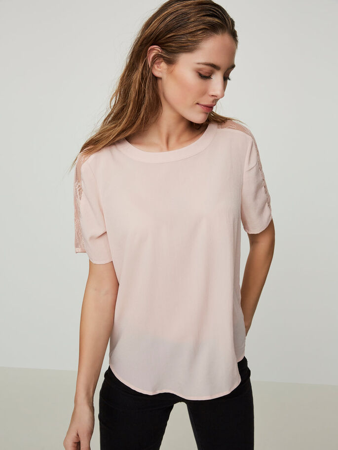 LACE SHORT SLEEVED TOP, Peach Whip, large