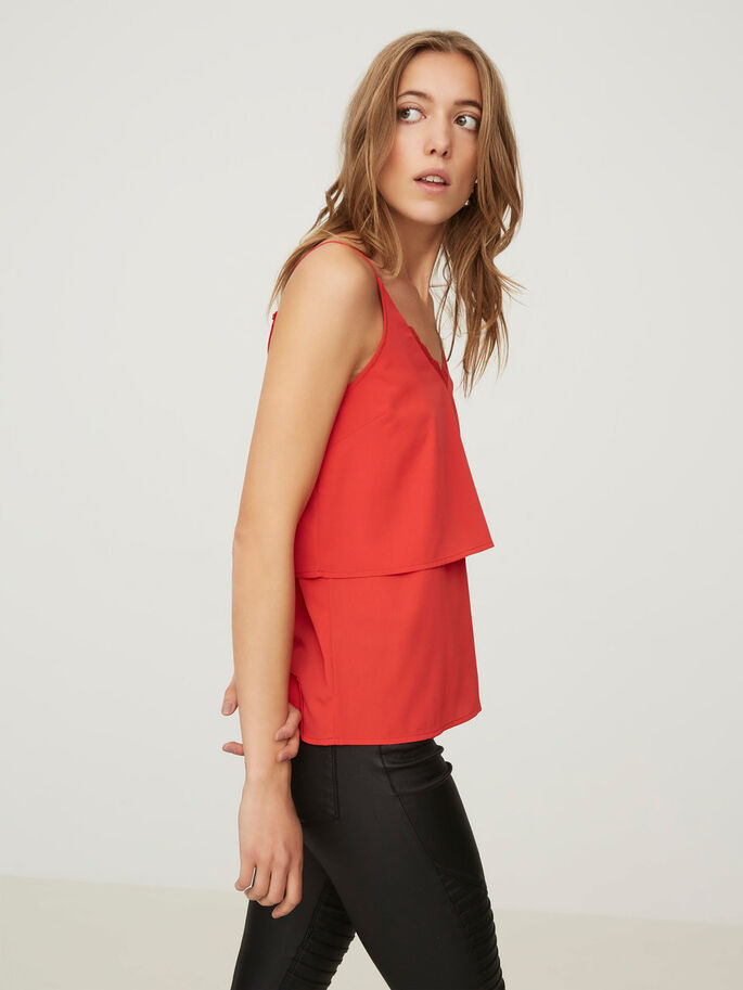 LACE SLEEVELESS TOP, High Risk Red, large