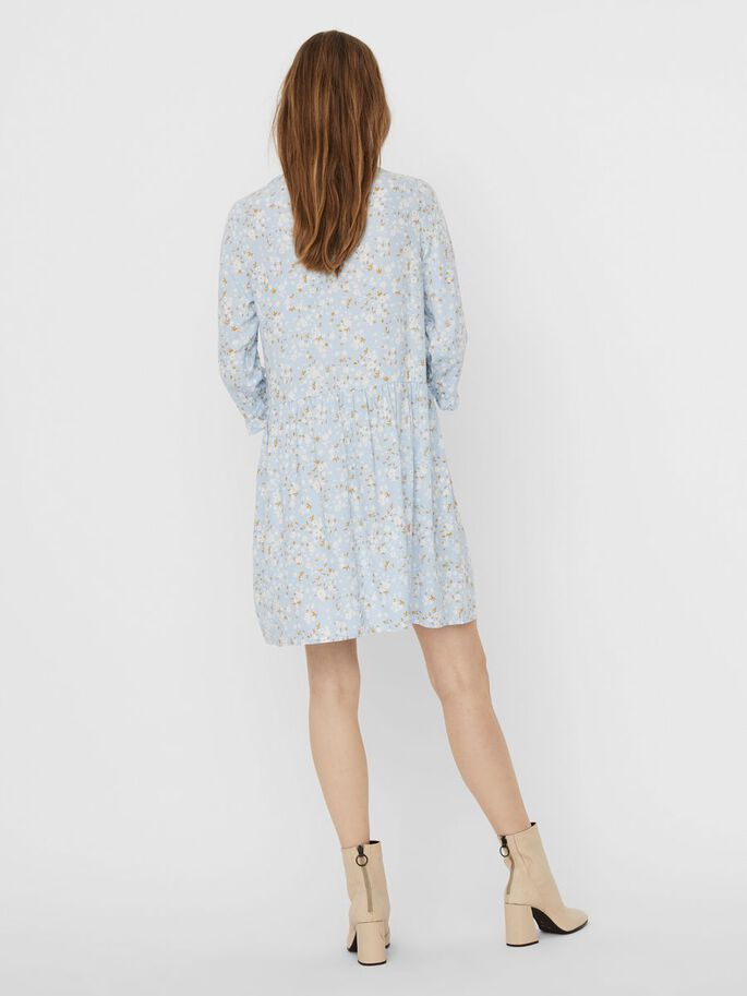 PRINTED MINI DRESS, Cashmere Blue, large