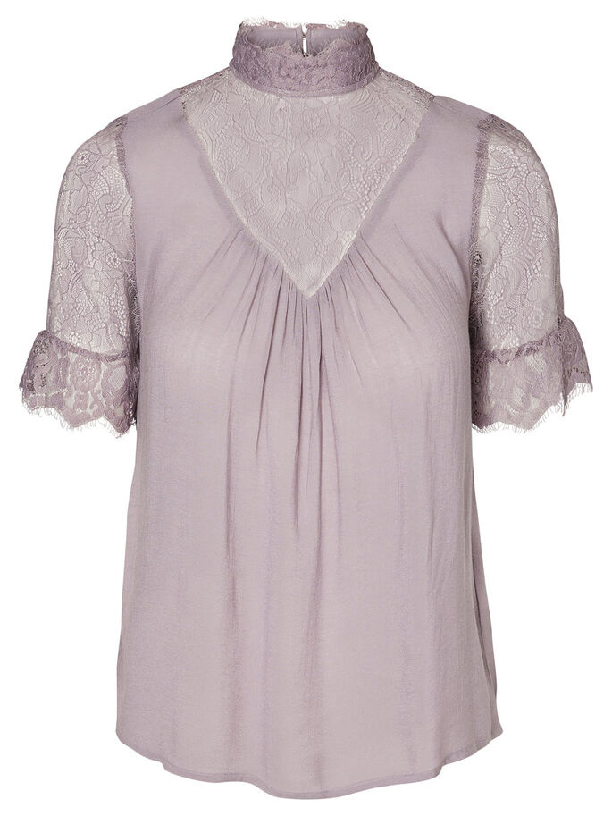 LACE SHORT SLEEVED TOP, Gray Ridge, large
