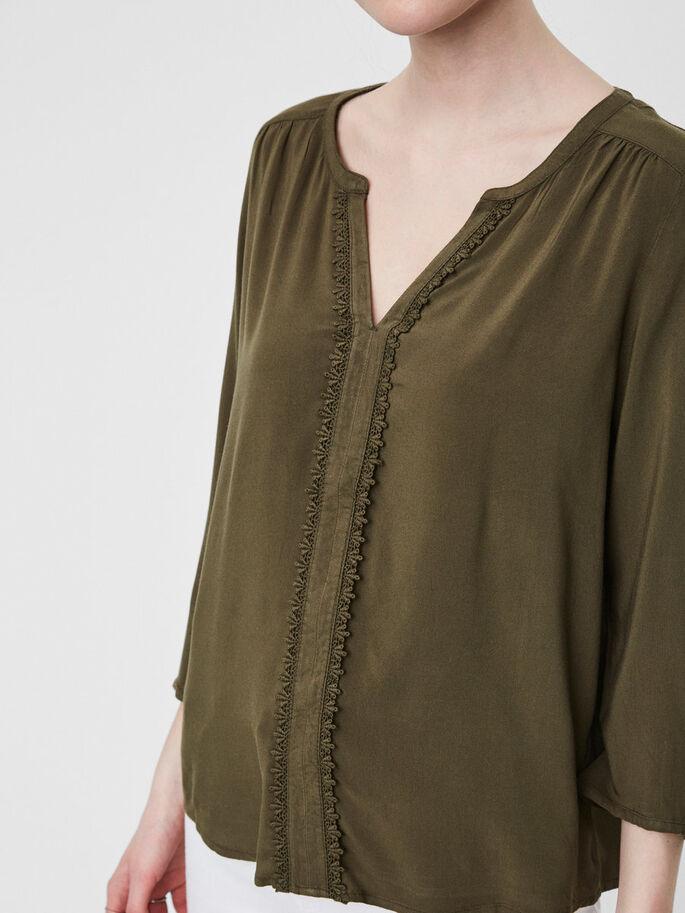 DETAILED 3/4 SLEEVED BLOUSE, Ivy Green, large