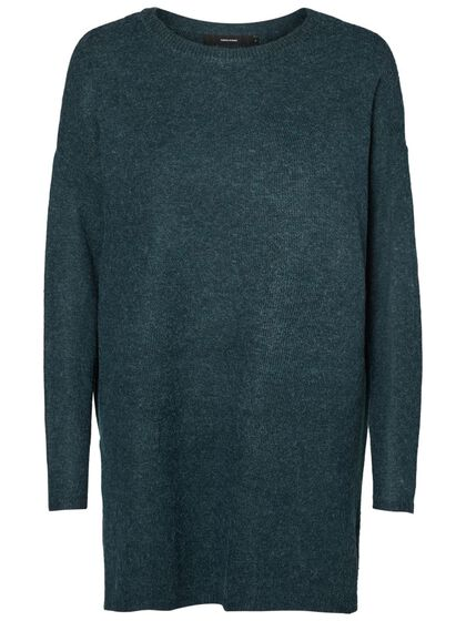 LONG O-NECK KNITTED PULLOVER