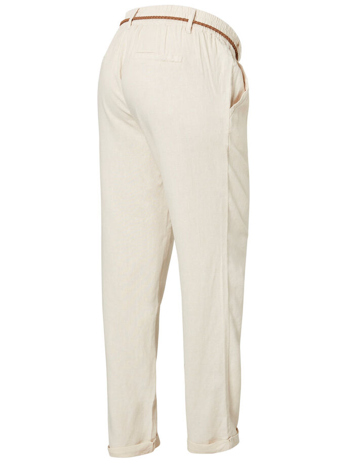 MLBEACH BRAID BELTED MATERNITY TROUSERS, Sandshell, large