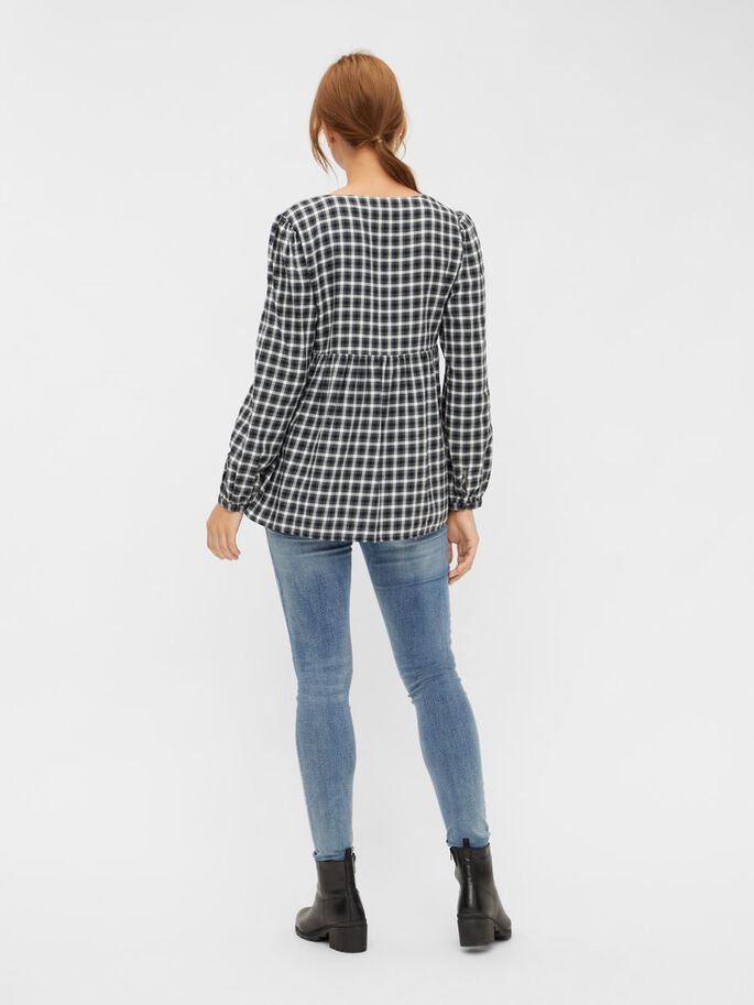 CHECKET MATERNITY TOP, Black, large