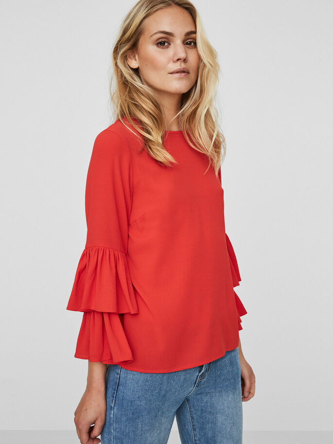 FRILL LONG SLEEVED BLOUSE, Flame Scarlet, large
