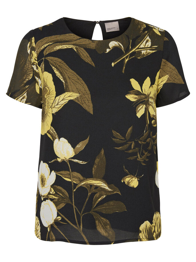 BLOEMENPRINT SHIRT MET 2/4 MOUWEN, Black, large