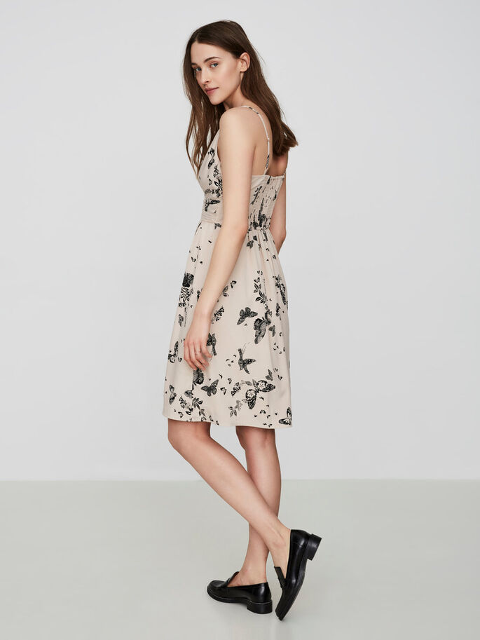 FEMININE SLEEVELESS DRESS, Oatmeal, large