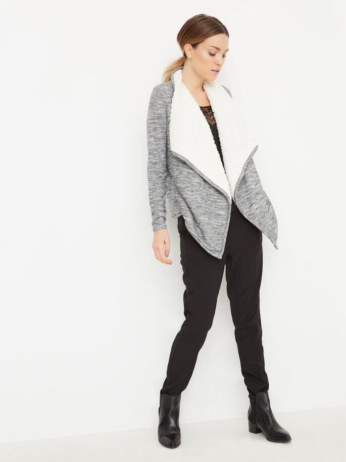 LONG CARDIGAN, Medium Grey Melange, large
