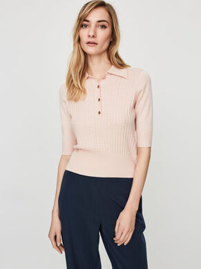 SHORT SLEEVED POLO BLOUSE