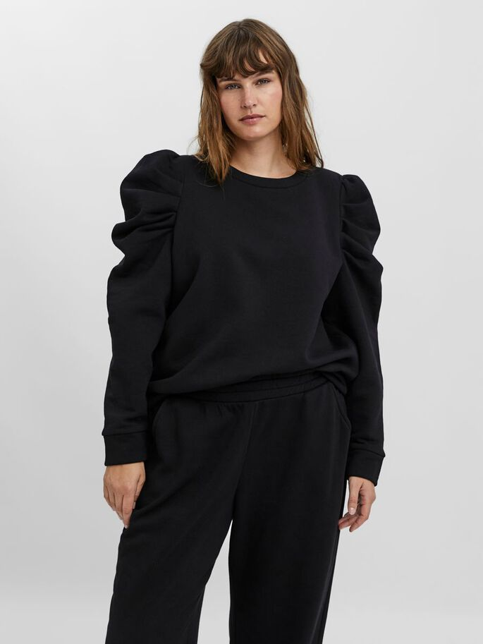 PUFF SLEEVED BLOUSE, Black, large
