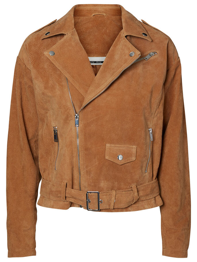 LONG SLEEVED LEATHER JACKET, Tobacco Brown, large