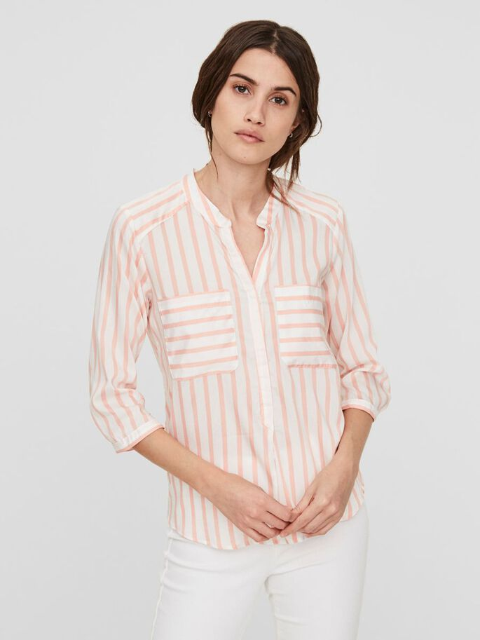 STRIPED 3/4 SLEEVED SHIRT, Coral Cloud, large