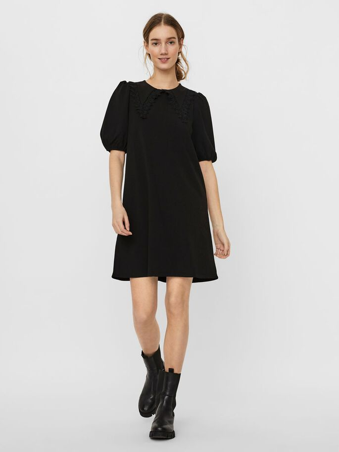 2/4 SLEEVED MINI DRESS, Black, large