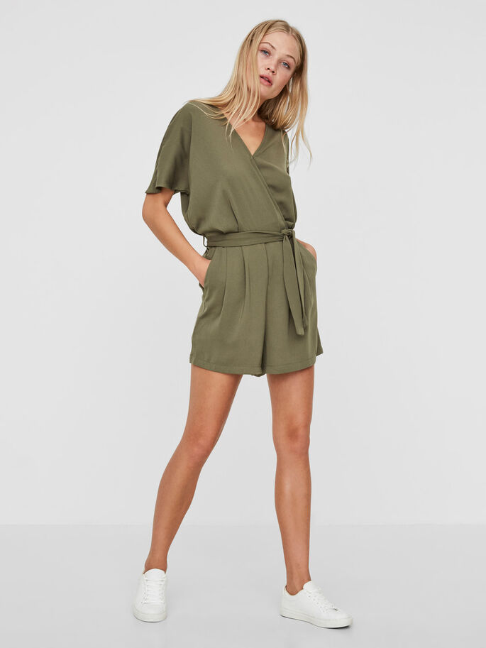 SHORT SLEEVED PLAYSUIT, Ivy Green, large