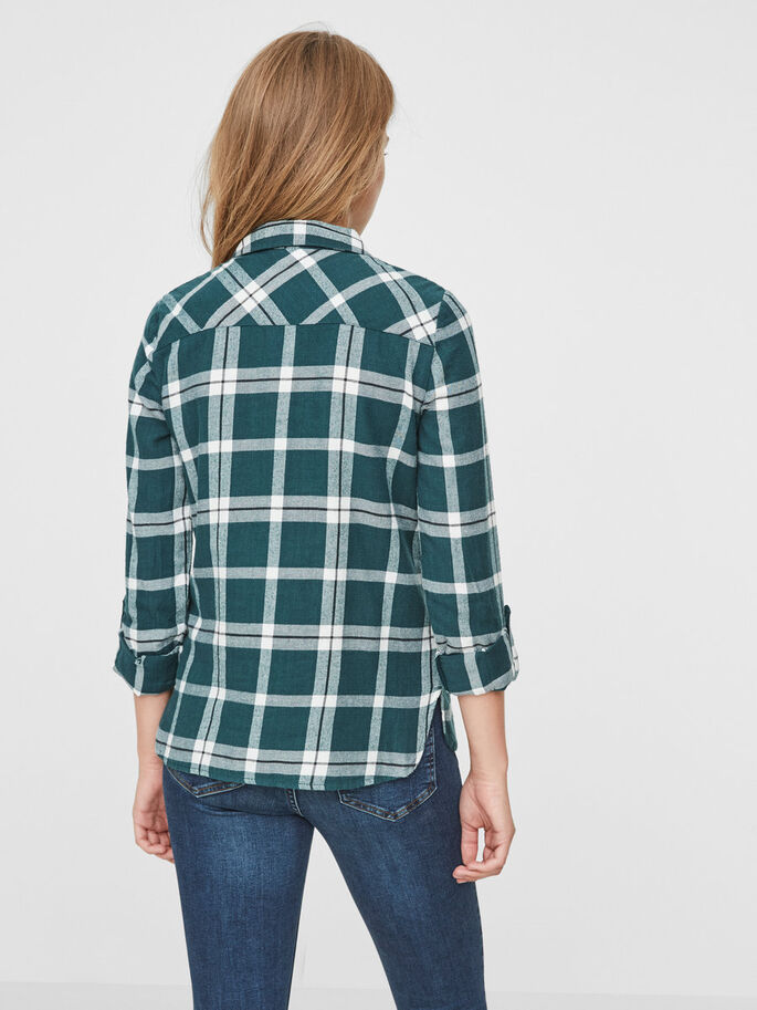 CHEQUERED LONG SLEEVED SHIRT, Green Gables, large