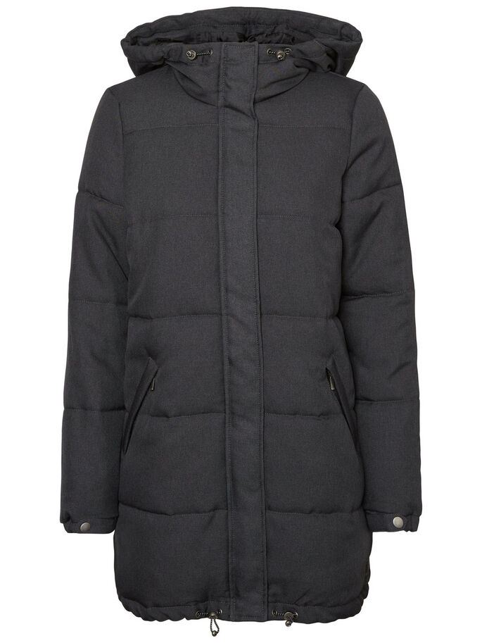LONG PADDED WINTER COAT, Dark Grey Melange, large