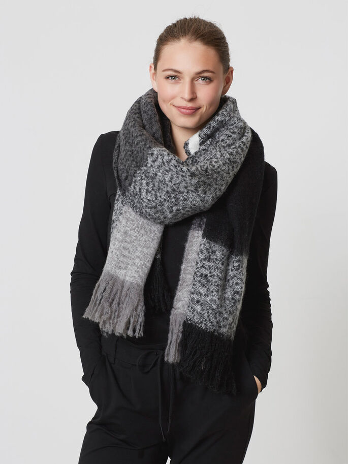 CHEQUERED SCARF, Black, large