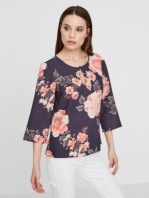 FLOWER 3/4 SLEEVED BLOUSE