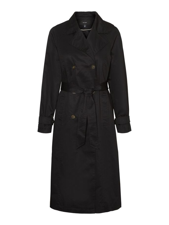 LONG TRENCHCOAT, Black, large