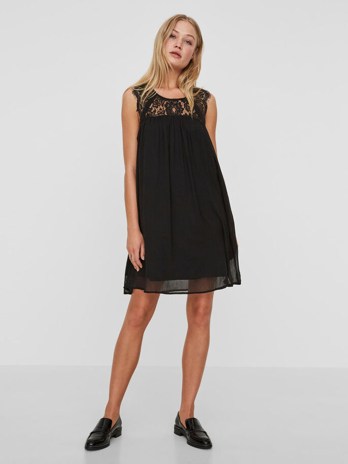 LACE SLEEVELESS DRESS, Black Beauty, large