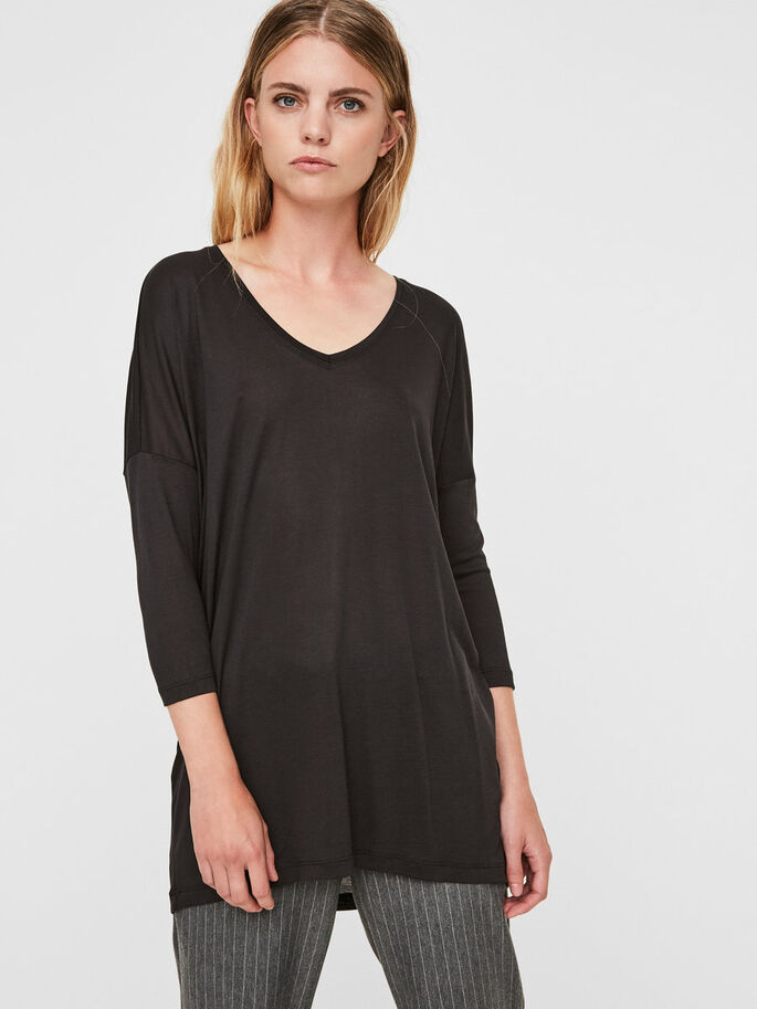 LOOSE FIT 3/4 SLEEVED TOP, Black, large