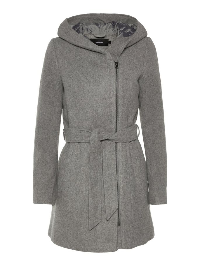 WOOL COAT, Medium Grey Melange, large