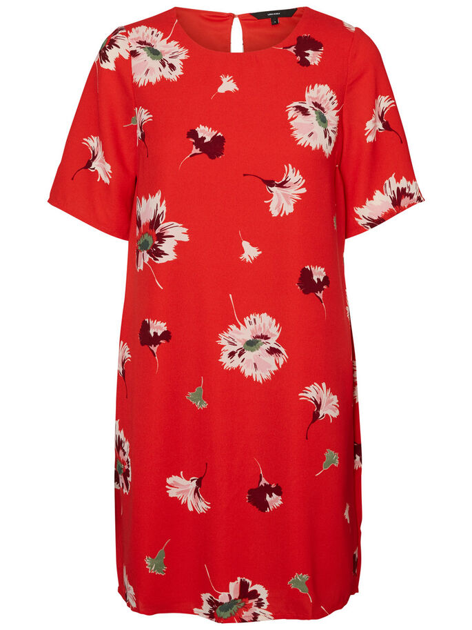 GABBY SHORT SLEEVED DRESS, Flame Scarlet, large