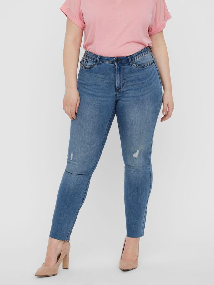 NORMAL WAIST SKINNY FIT JEANS, Medium Blue Denim, large