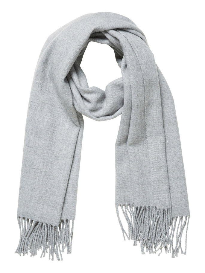 LANG FRANJES SJAAL, Light Grey Melange, large