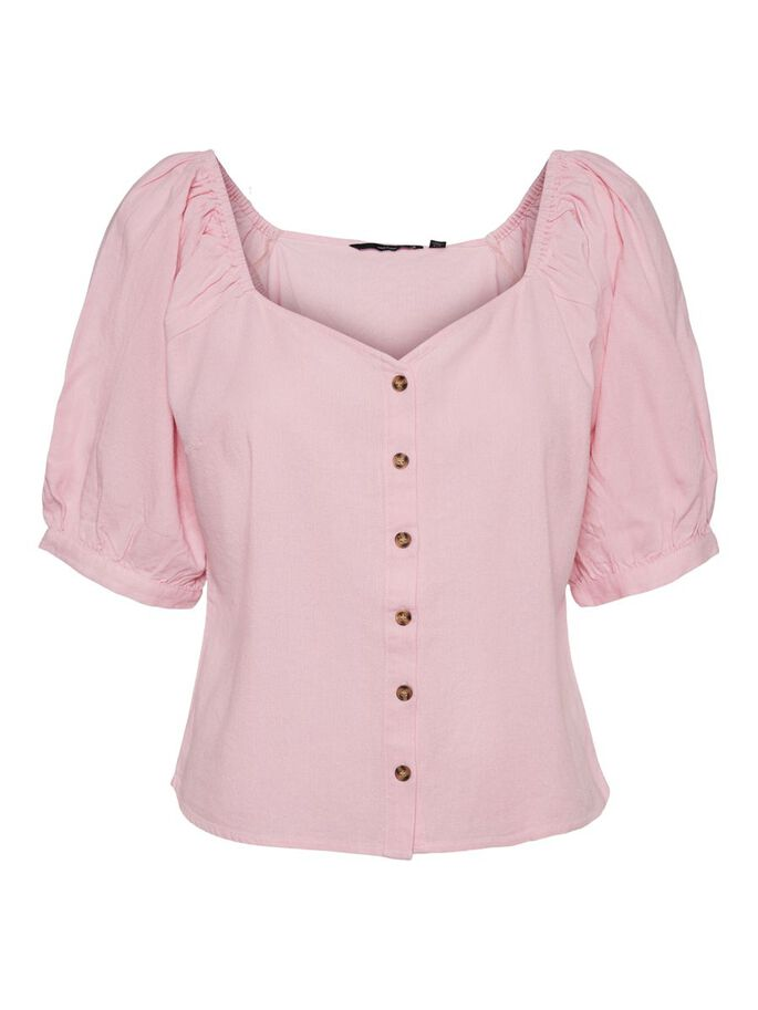 BUTTON SHORT SLEEVED TOP, Roseate Spoonbill, large