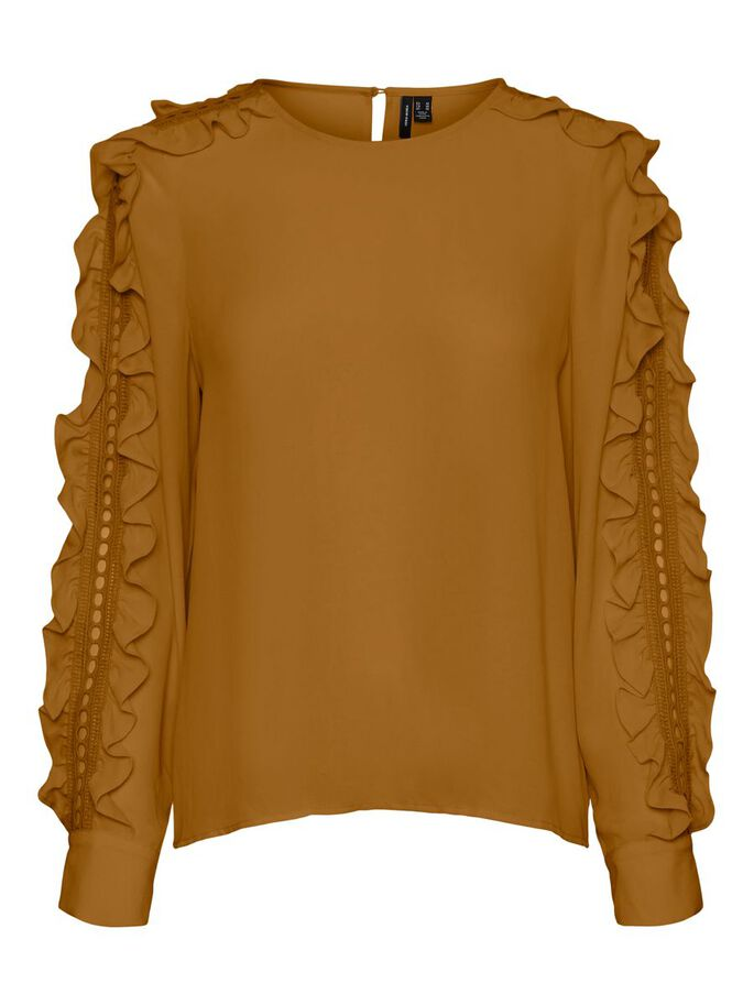 FRILL SLEEVED BLOUSE, Golden Brown, large
