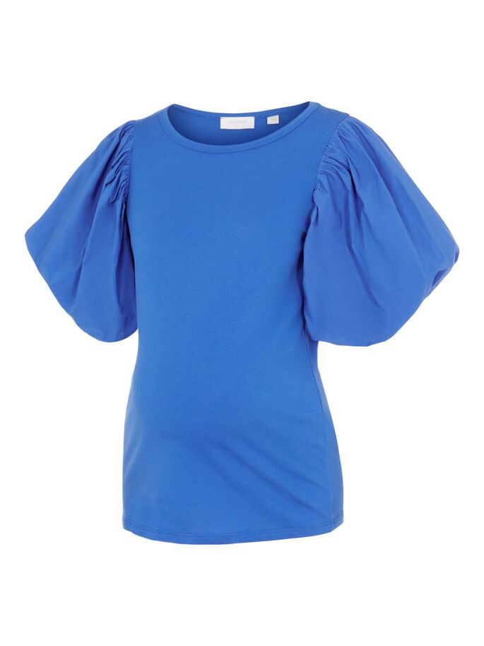 MLHANNAH PUFF SLEEVED MATERNITY TOP, Victoria Blue, large