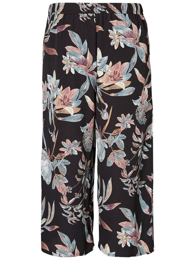 FLOWER CULOTTE TROUSERS, Black, large