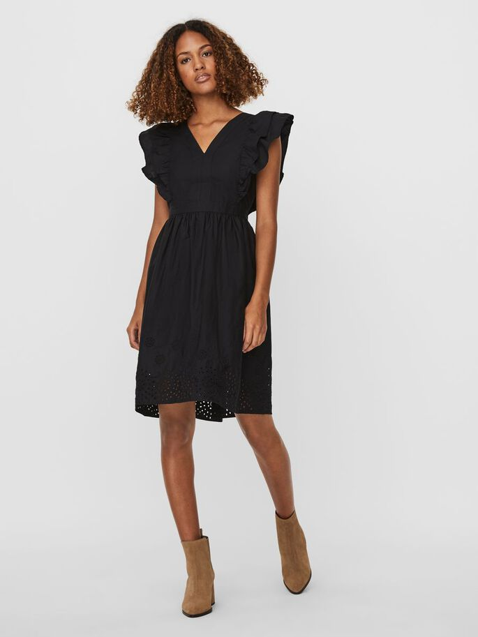 V-NECKLINE MINI DRESS, Black, large
